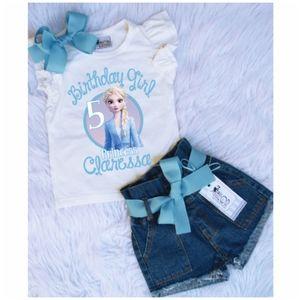 Frozen Elsa Anna Custom birthday denim short set